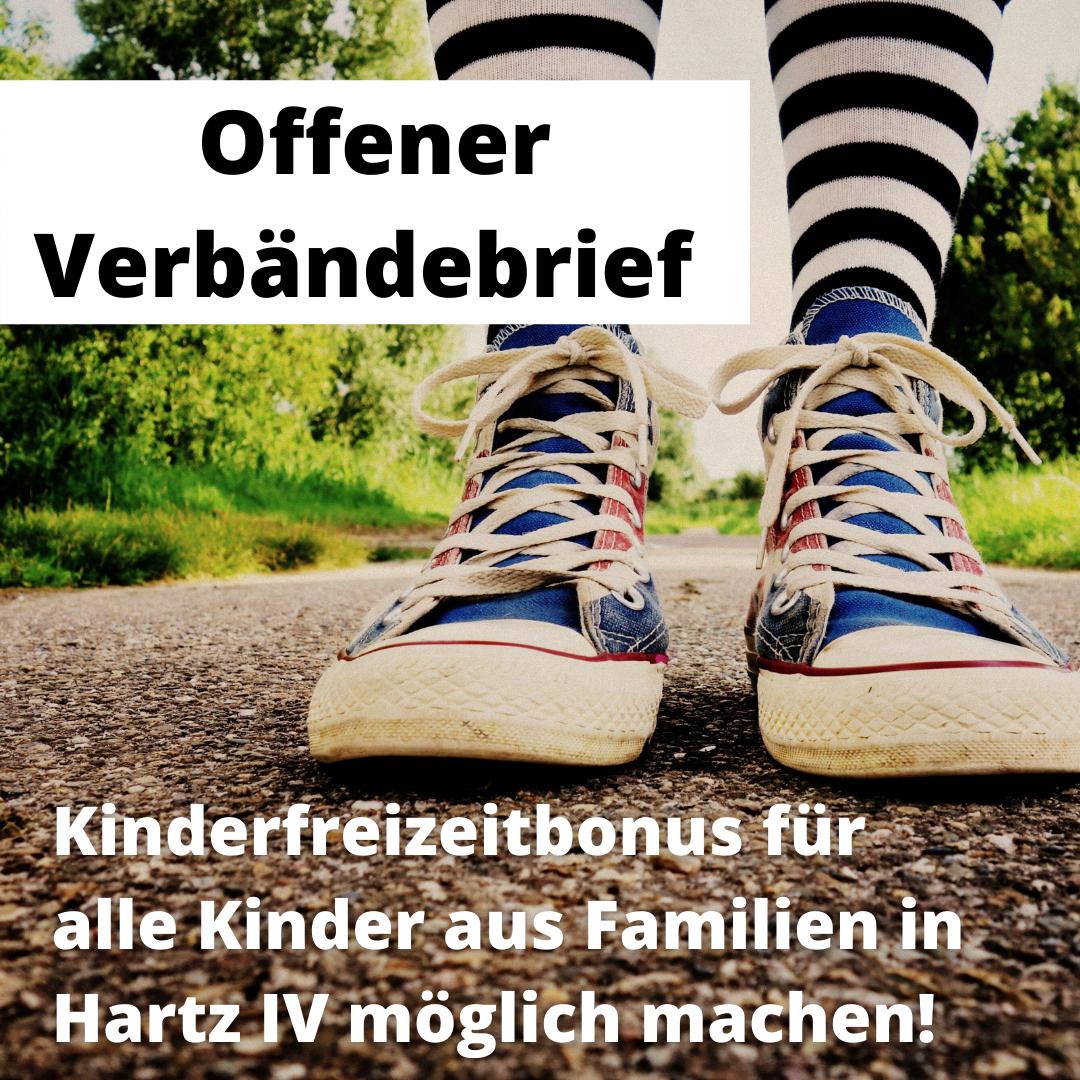 Offener Verbändebrief: Kinderfreizeitbonnus für alle Kinder aus Familien in Hartz IV möglich machen!