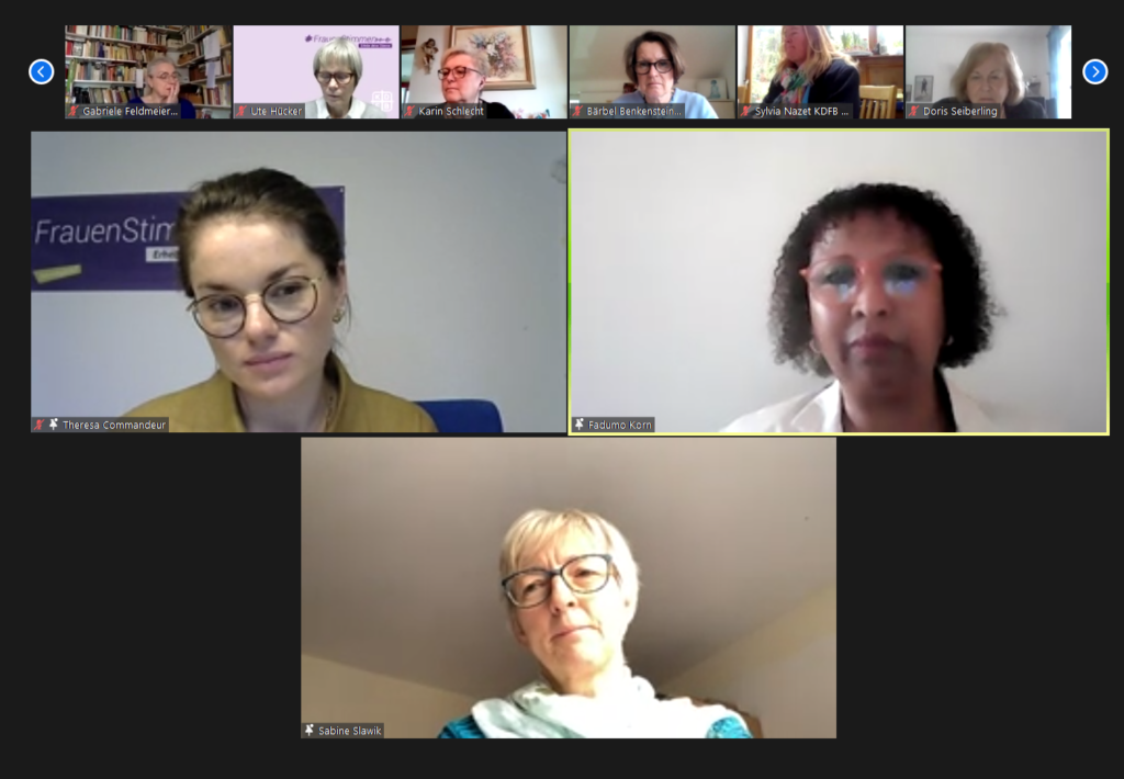Screenshot Zoom-Konferenz Studientagung KDFB NALA