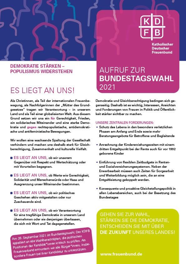 KDFB Wahlaufruf Bundestagswahl 2021