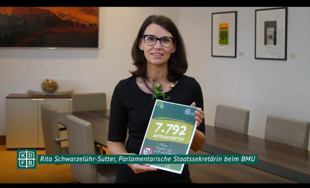 KDFB Video Unterschriftenübergabe Schwarzelühr-Sutter Tempolimit 130
