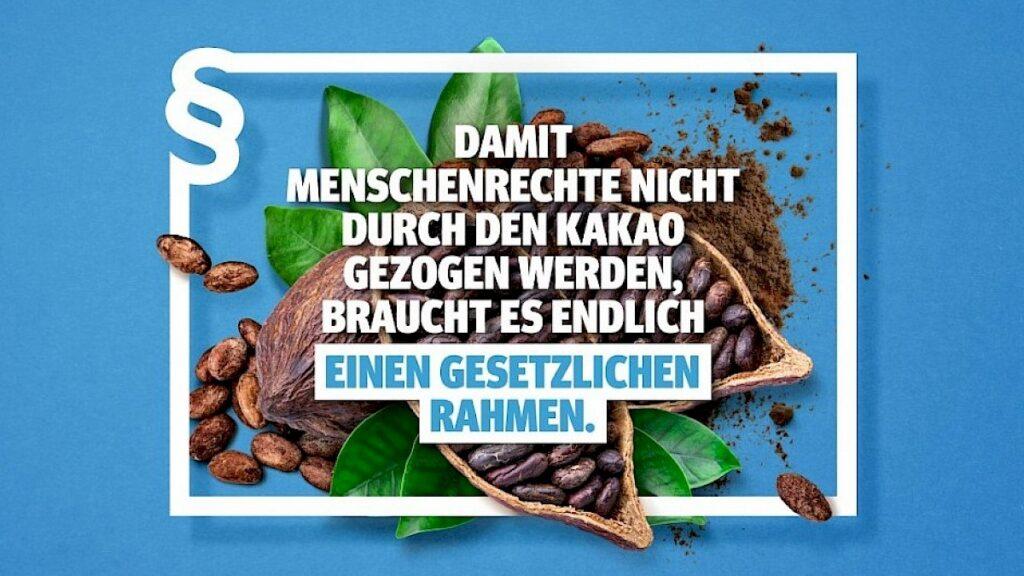 """Kakao-Bohne auf blauem Hintergrund mit dem Text""""Damit Menschenrechte nicht durch den Kakoa gezogen werden, braucht es endlich einen gesetzlichen Rahmen"""""""
